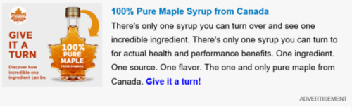 Misleading marketing of the week: maple syrup of all things
